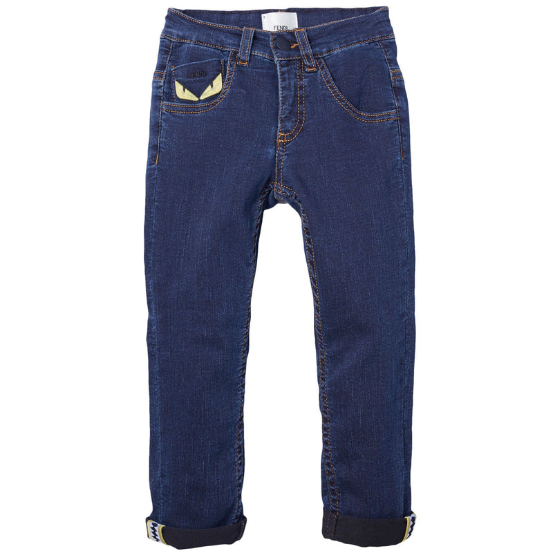 Boys Dark Blue Monster Embroidered Jeans - CÉMAROSE | Children's Fashion Store - 1