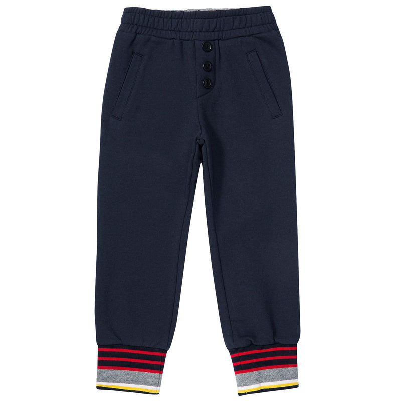 Boys Blue Tracksuit Trousers With Striped Leg Cuffs - CÉMAROSE | Children's Fashion Store - 1
