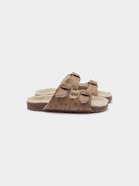 Girls Camel Stars Sheepskin Sandals
