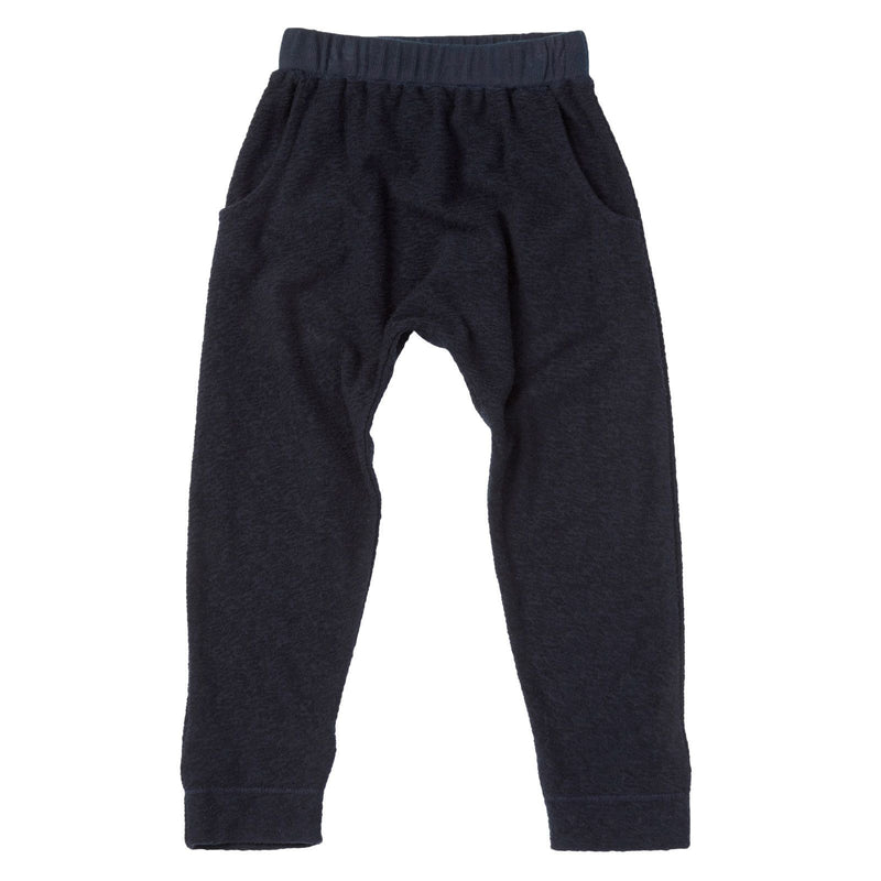 Baby Navy Blue Textured Fleece Cotton Jersey Trousers - CÉMAROSE | Children's Fashion Store