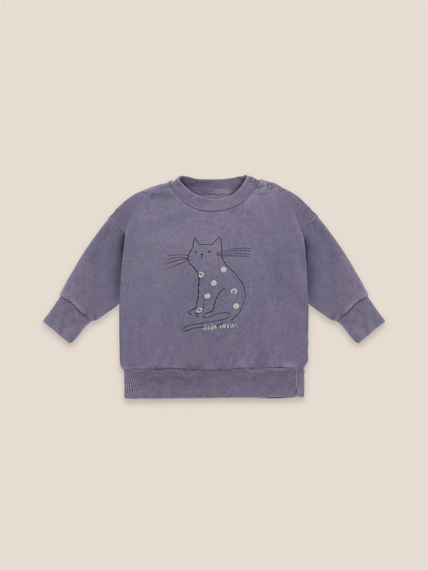 Baby Boys Grape Compote Cat Organic Cotton Sweatshirt