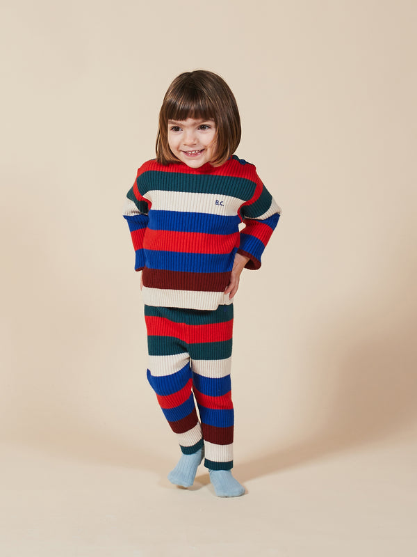 Baby Boys Electric Blue Stripe Knitted Legging