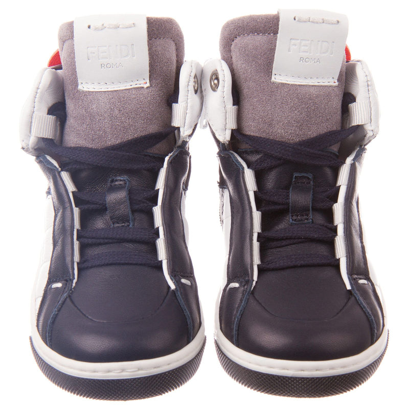 Boys Grey&White Suede High-top Trainers - CÉMAROSE | Children's Fashion Store - 2