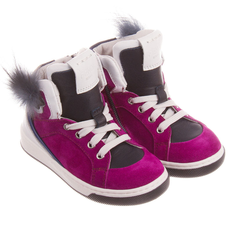 Boys&Girls Purple Suede High-top Trainers With Fur - CÉMAROSE | Children's Fashion Store - 1