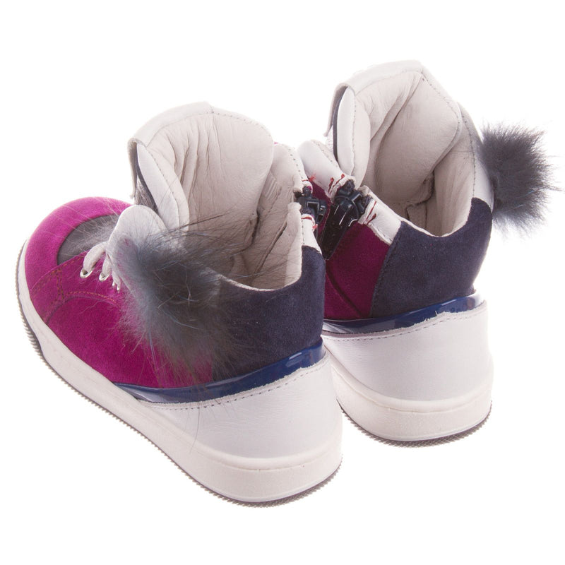 Boys&Girls Purple Suede High-top Trainers With Fur - CÉMAROSE | Children's Fashion Store - 4