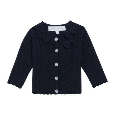 Baby Girls Navy Blue Knitted Cardigan With Bow Trims - CÉMAROSE | Children's Fashion Store