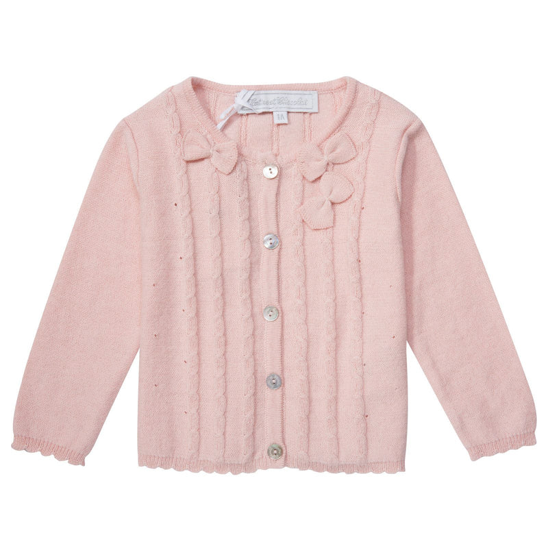 Baby Girls Pink Knitted Cardigan With Bow Trims - CÉMAROSE | Children's Fashion Store - 1