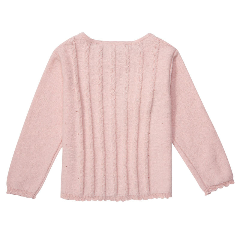 Baby Girls Pink Knitted Cardigan With Bow Trims - CÉMAROSE | Children's Fashion Store - 2
