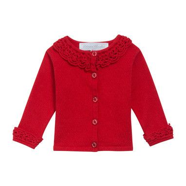 Baby Girls Red Cardigan With Crochet Knit Trims - CÉMAROSE | Children's Fashion Store