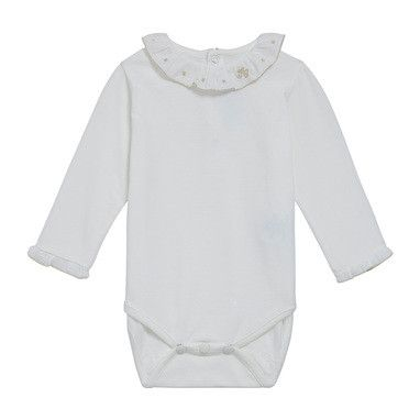 Baby Girls White Cotton Jersey Bobyvest With Silver Lace Collar - CÉMAROSE | Children's Fashion Store