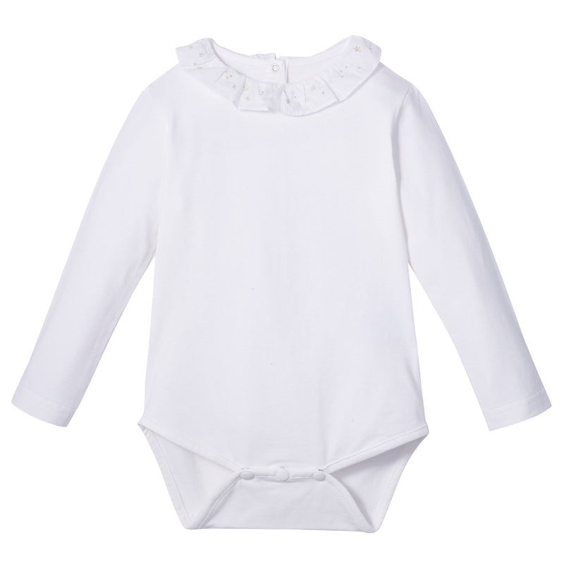 Baby Girls Ivory Cotton Jersey Bodyvest est With Embroidery Lace Collar - CÉMAROSE | Children's Fashion Store - 1