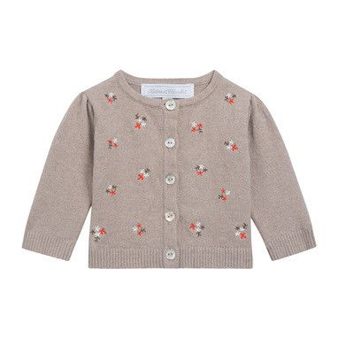 Baby Girls Grey Embroidered Folwer Cardigan - CÉMAROSE | Children's Fashion Store