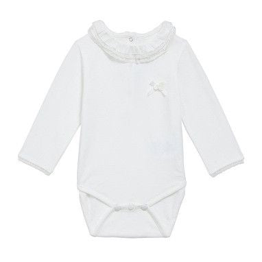 Baby Girls Ivory Cotton Jersey Bobyvest With Lace Collar - CÉMAROSE | Children's Fashion Store
