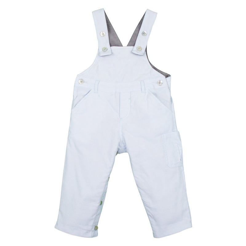 Baby Boys White Cotton Dungarees With Pockets - CÉMAROSE | Children's Fashion Store - 1