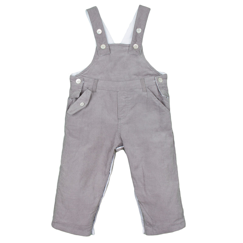 Baby Boys White Cotton Dungarees With Pockets - CÉMAROSE | Children's Fashion Store - 3
