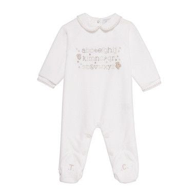 Baby Pink Velour Babygrow With Alphabet Print - CÉMAROSE | Children's Fashion Store