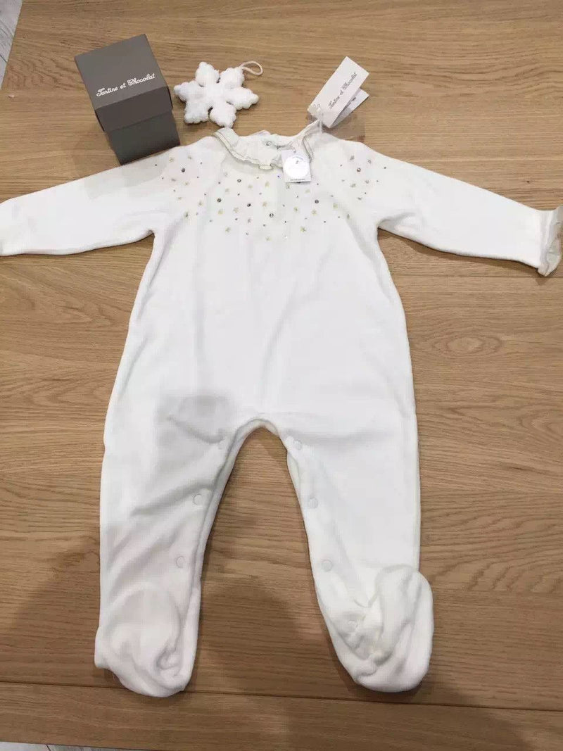 Baby White Velour Babygrow With Swarovski - CÉMAROSE | Children's Fashion Store