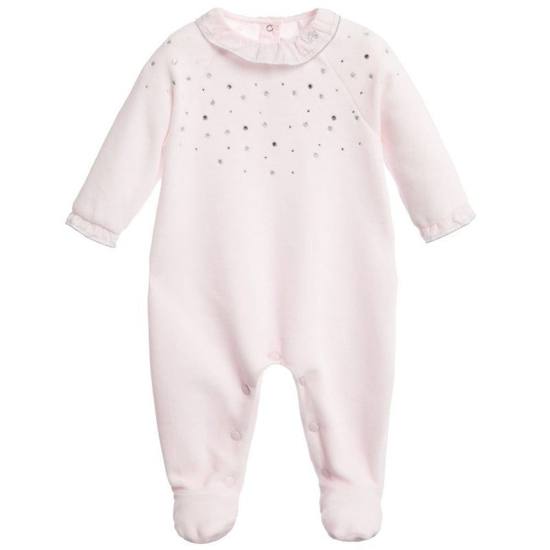 Baby Pink Velour Babygrow With Swarovski - CÉMAROSE | Children's Fashion Store