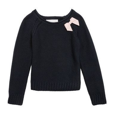 Baby Girls Navy Blue Bow Trims Knitted Sweater - CÉMAROSE | Children's Fashion Store