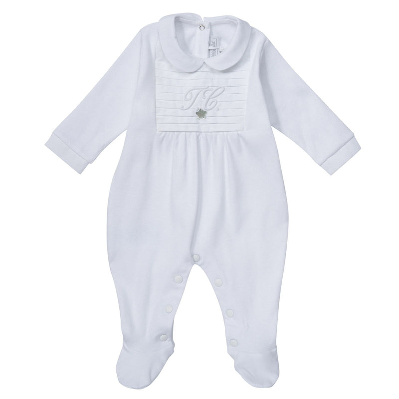 Baby White Babygrow with Embroidered Logo - CÉMAROSE | Children's Fashion Store - 1