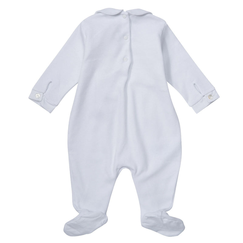 Baby White Babygrow with Embroidered Logo - CÉMAROSE | Children's Fashion Store - 2