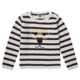 Boys Grey&Blue Stripe Embroidered Monster Sweater - CÉMAROSE | Children's Fashion Store - 1