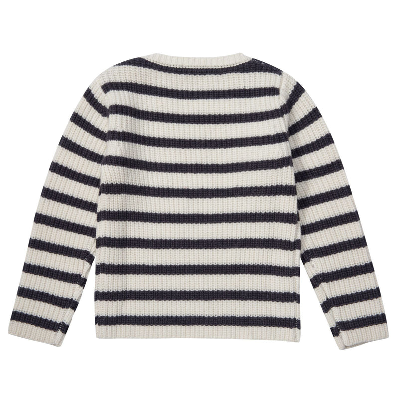 Boys Grey&Blue Stripe Embroidered Monster Sweater - CÉMAROSE | Children's Fashion Store - 2