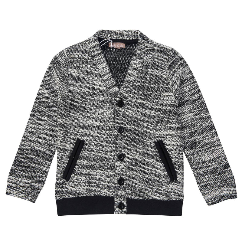 Boys Dark Grey Cardigan With Black Pockets - CÉMAROSE | Children's Fashion Store - 1