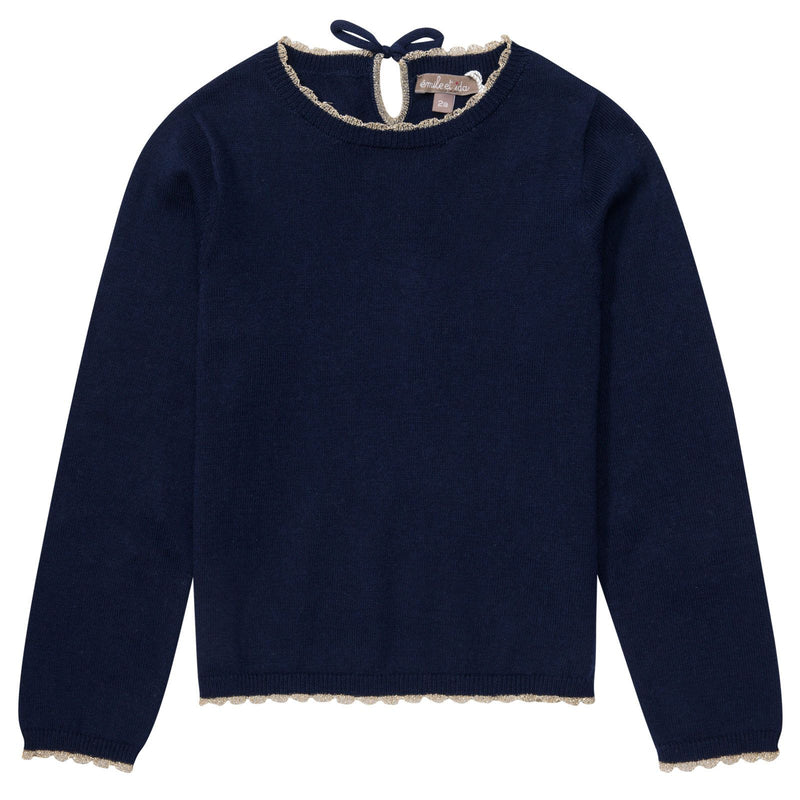 Girls Navy Blue Hearts Elbow Patches Sweater - CÉMAROSE | Children's Fashion Store - 1