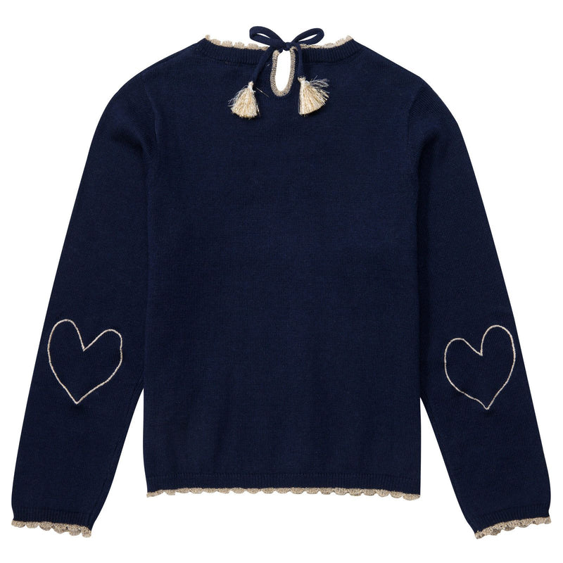 Girls Navy Blue Hearts Elbow Patches Sweater - CÉMAROSE | Children's Fashion Store - 2
