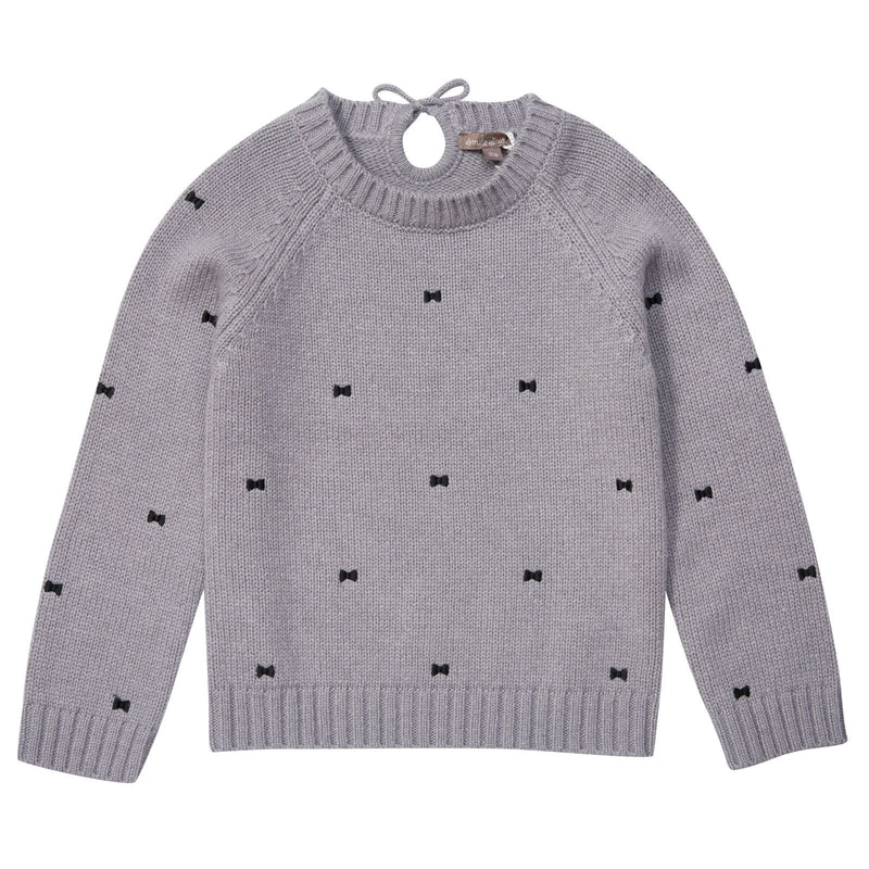 Girls Grey Embroidered Bows Sweater - CÉMAROSE | Children's Fashion Store - 1