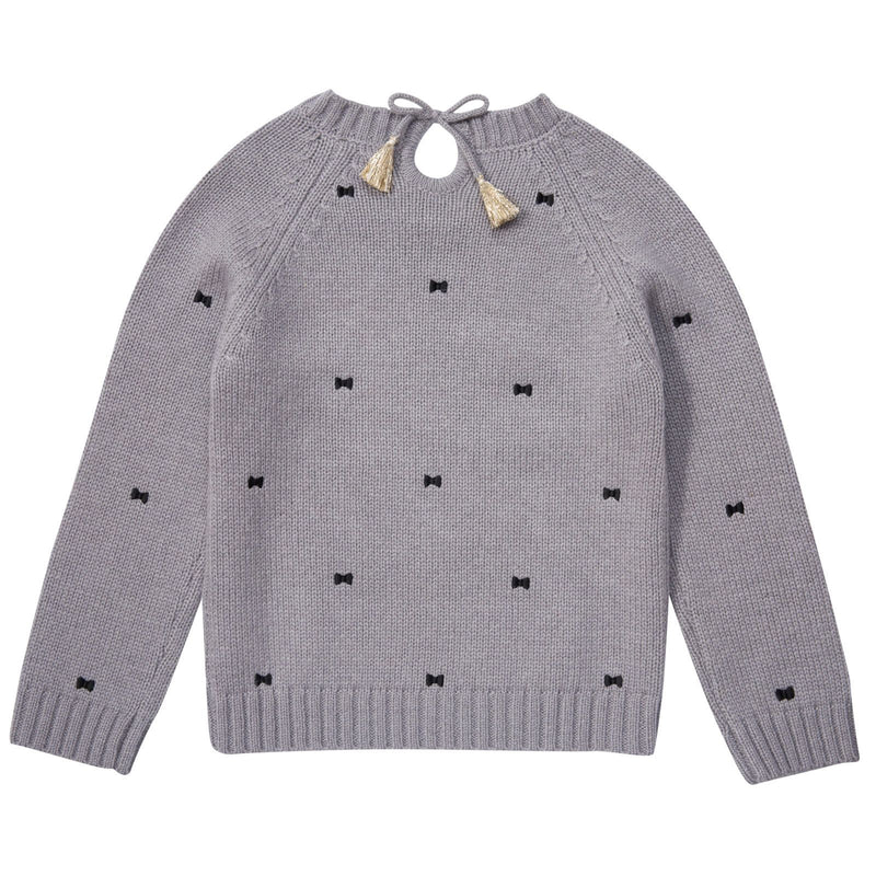 Girls Grey Embroidered Bows Sweater - CÉMAROSE | Children's Fashion Store - 2