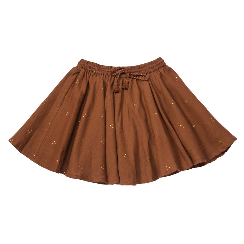 Girls Brown Elastic waisted Mukesh Skirt - CÉMAROSE | Children's Fashion Store - 1