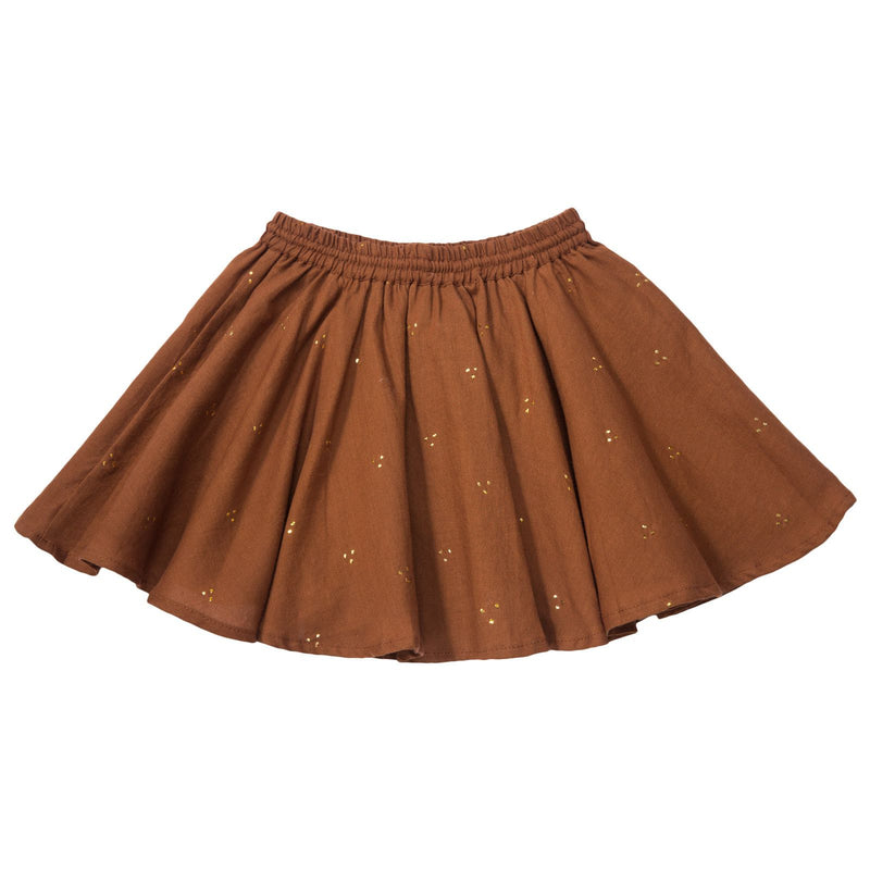 Girls Brown Elastic waisted Mukesh Skirt - CÉMAROSE | Children's Fashion Store - 2