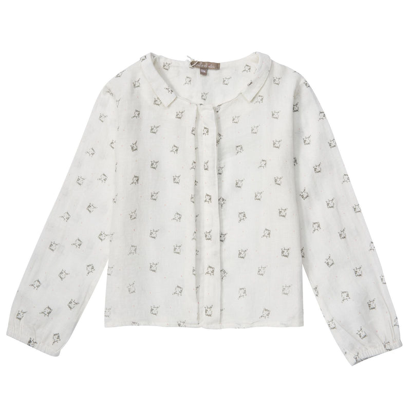 Girls Beige Cat Printed Cotton Blouse - CÉMAROSE | Children's Fashion Store - 1