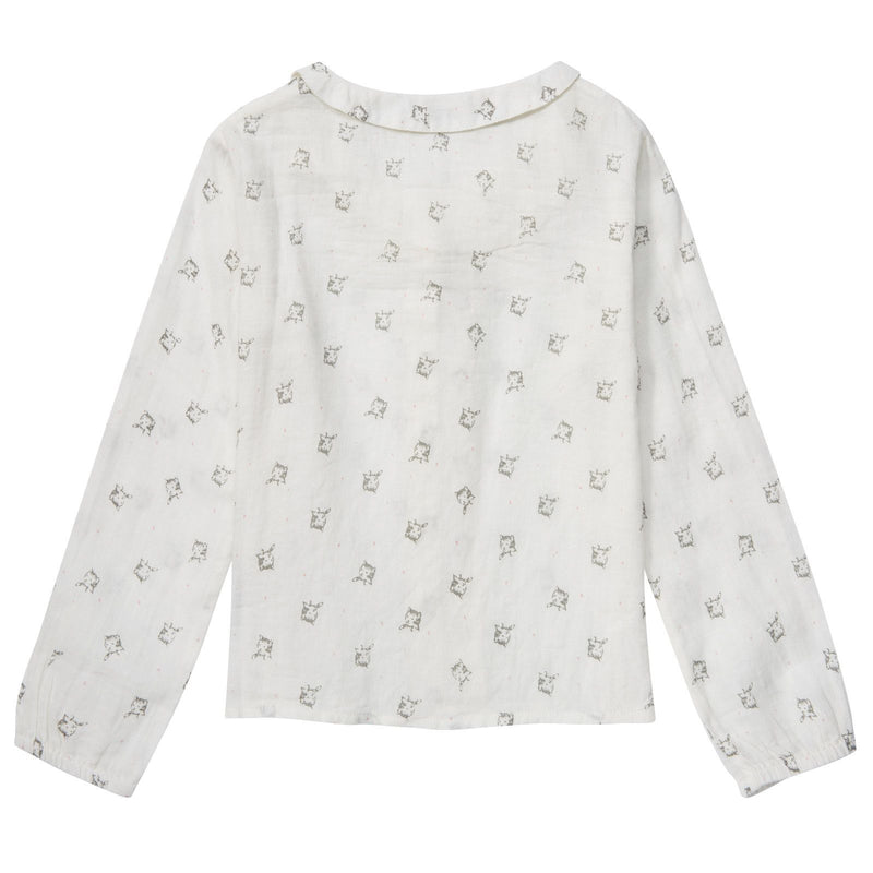 Girls Beige Cat Printed Cotton Blouse - CÉMAROSE | Children's Fashion Store - 2