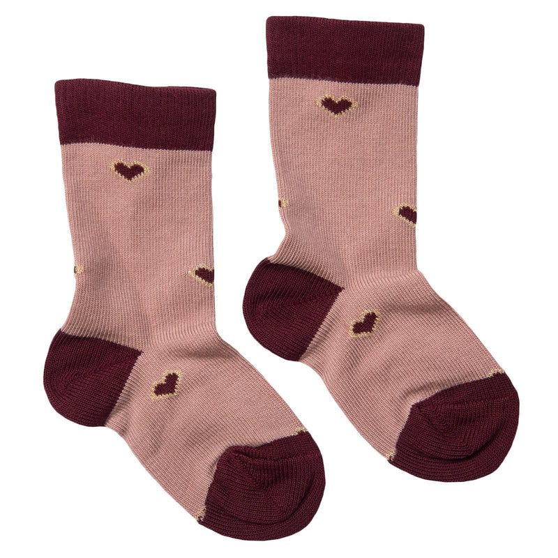 Girls Dusty Pink Embroidered Hearts Socks - CÉMAROSE | Children's Fashion Store - 1