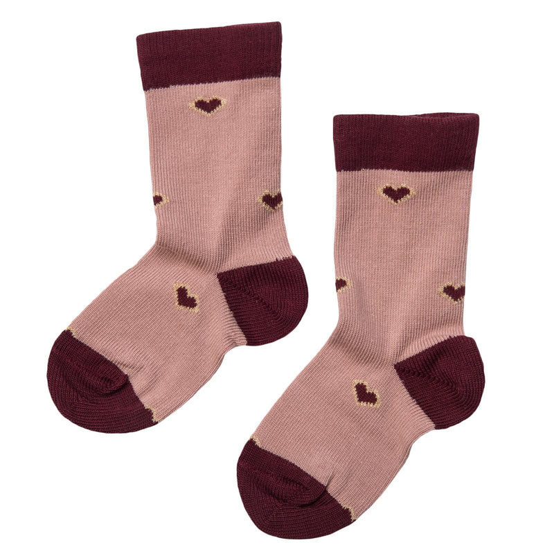 Girls Dusty Pink Embroidered Hearts Socks - CÉMAROSE | Children's Fashion Store - 2