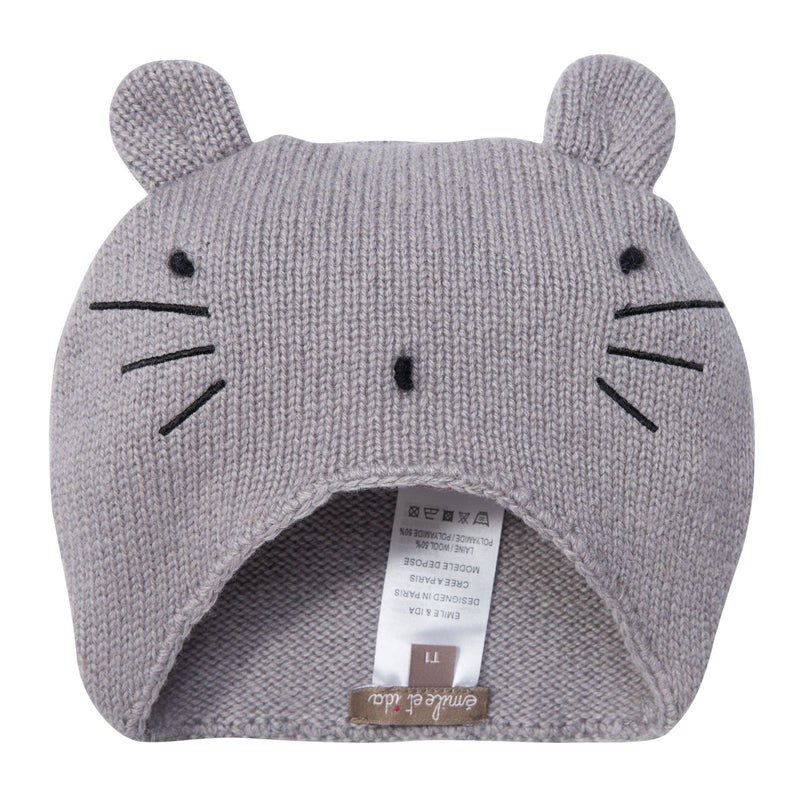 Girls Grey Knitted Mouse Wool Hat - CÉMAROSE | Children's Fashion Store - 1