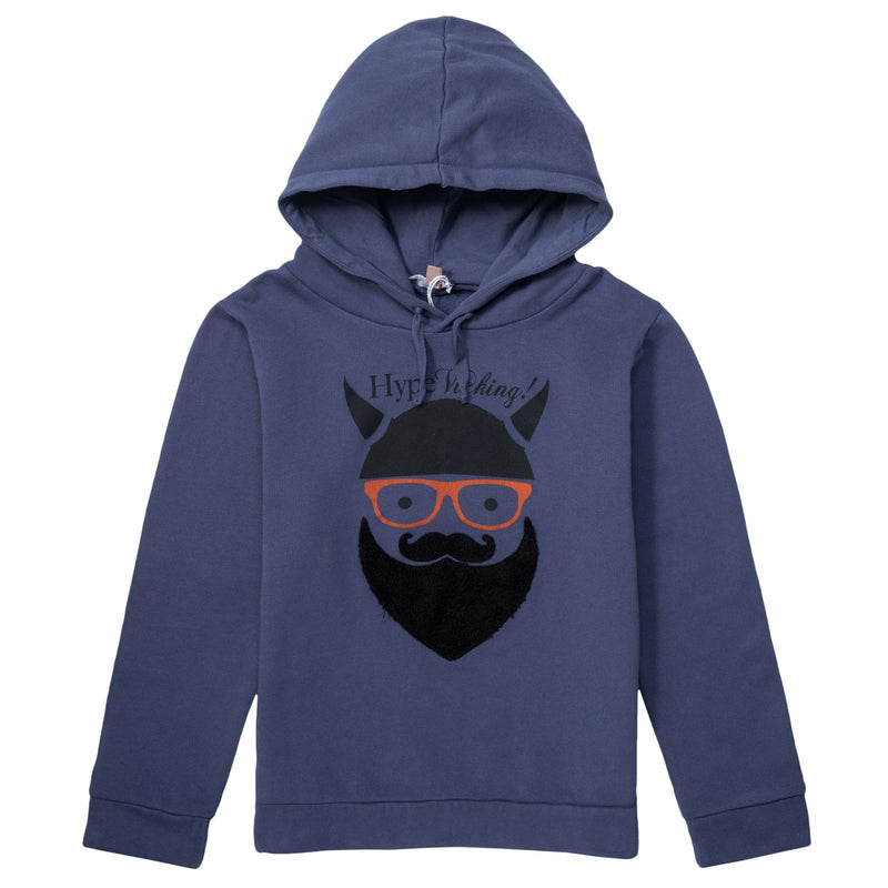 Boys Navy Blue Viking Beard Logo Hooded Zip-up Tops - CÉMAROSE | Children's Fashion Store - 1