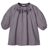 Baby Girls Black Gingham Check Embroidered Flowers Dress - CÉMAROSE | Children's Fashion Store - 1