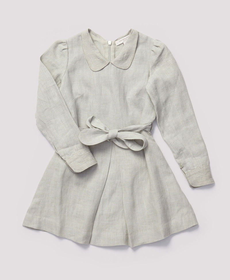 Girls Grey Eembroidered Collar Heartwood Dress With Belt - CÉMAROSE | Children's Fashion Store - 1