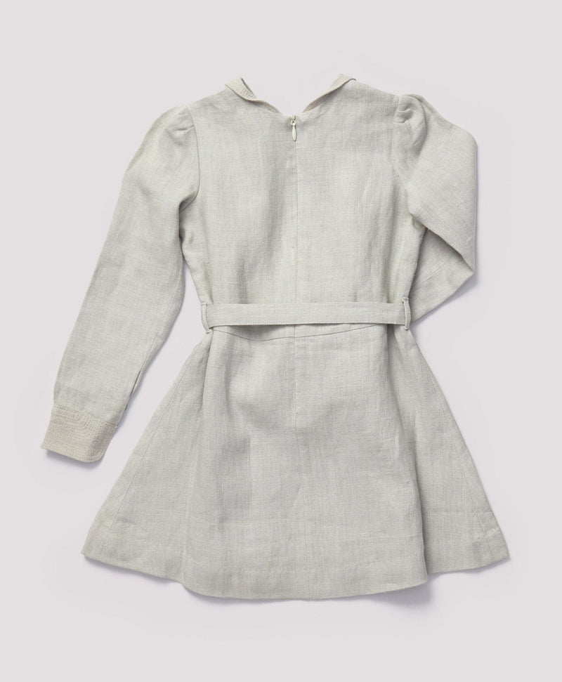Girls Grey Eembroidered Collar Heartwood Dress With Belt - CÉMAROSE | Children's Fashion Store - 2