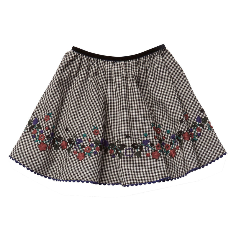 Girls Black Cotton Gingham Gwydir Embroidered Trims Skirt - CÉMAROSE | Children's Fashion Store