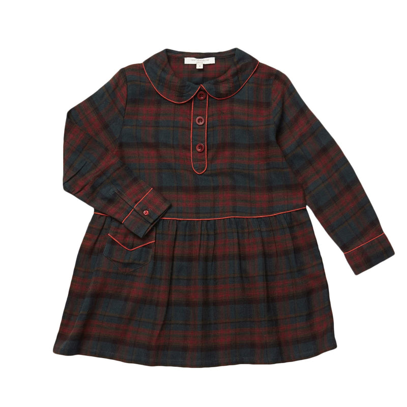 Girls Blue&Brown Rust Check Dress With Button Trims - CÉMAROSE | Children's Fashion Store