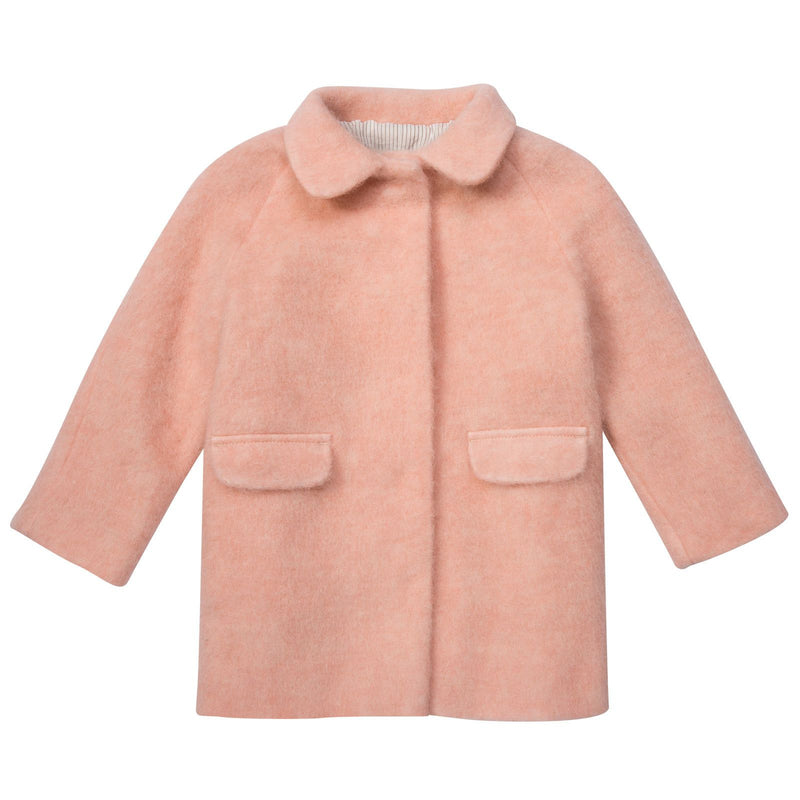 Girls Pink Polyamide Coat With Flap Pockets - CÉMAROSE | Children's Fashion Store - 1