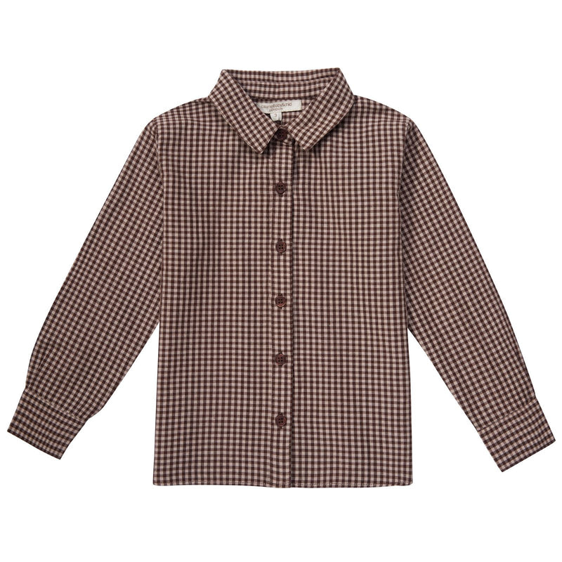 Boys Brown Gingham Cotton Shirt - CÉMAROSE | Children's Fashion Store - 1