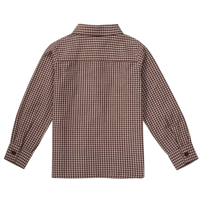 Boys Brown Gingham Cotton Shirt - CÉMAROSE | Children's Fashion Store - 2