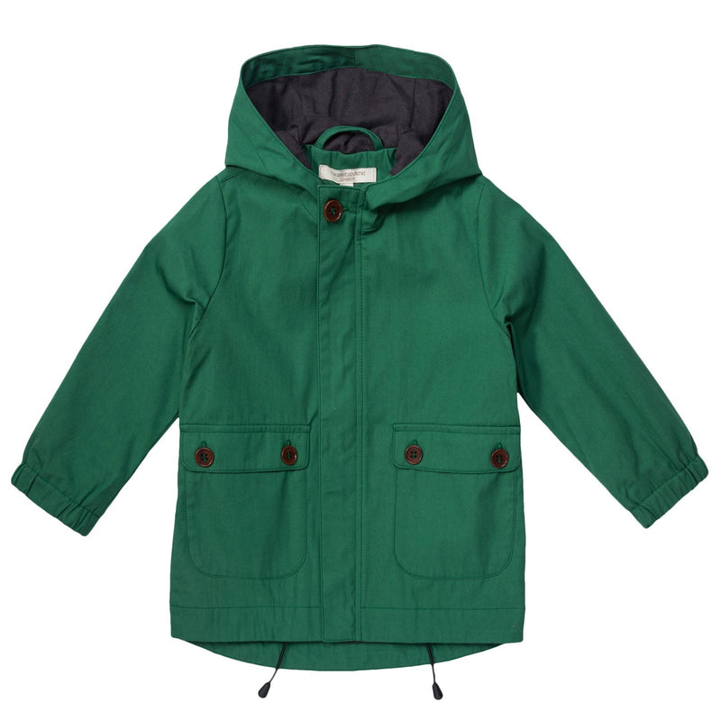 Boys Green Hooded Coat With Patch Pockets - CÉMAROSE | Children's Fashion Store - 1