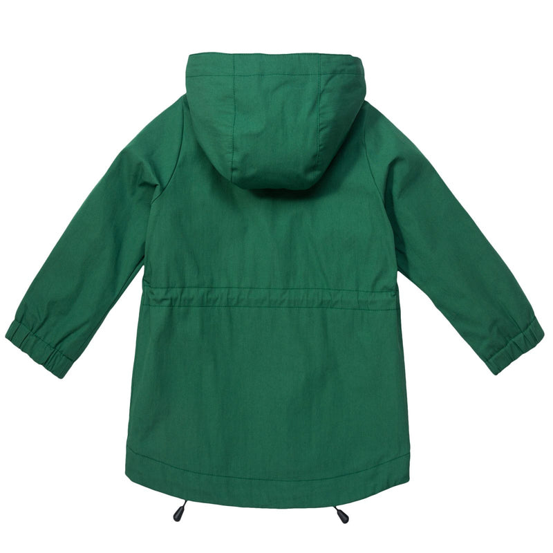 Boys Green Hooded Coat With Patch Pockets - CÉMAROSE | Children's Fashion Store - 2